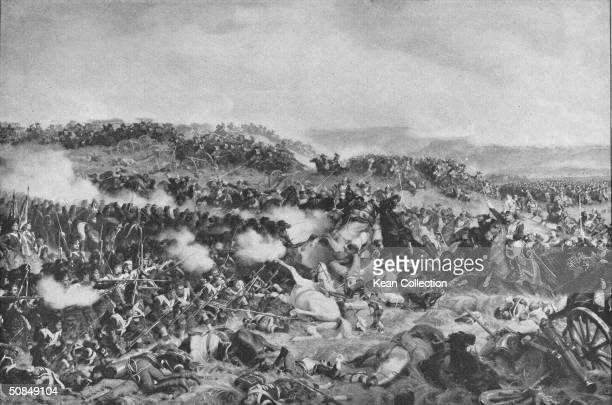 Illustration depicting the charge of the British Life Guards against French forces at the Battle of Waterloo, Belgium, by artist Felix...