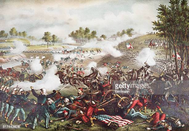 Illustration depicting the Civil War Battle of Bull Run July 21 1861 Federal troops under General McDowell suffered a loss of 2952 men Confederate...