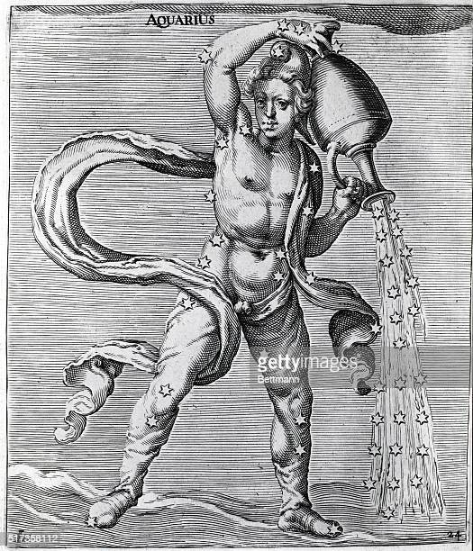 Illustration depicting the constellation Aquarius Engraving by Jacob de Gheyn 1621