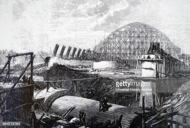 Illustration depicting the construction of St Pancras Station London Dated 19th century