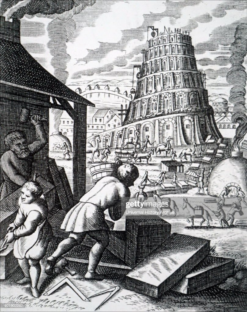 Illustration depicting the construction of the Tower of Babel. Bricks are being fired in two kilns and in the foreground masons are working on blocks of stone. Dated 18th century.