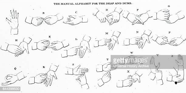Illustration depicting the Deaf and Dumb Alphabet Dated 19th Century