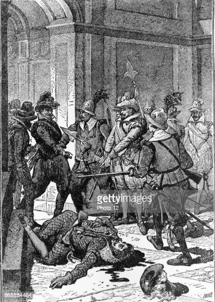 Illustration depicting the death of Francisco Pizarro Spanish conquistador who conquered the Incan Empire Dated 1891