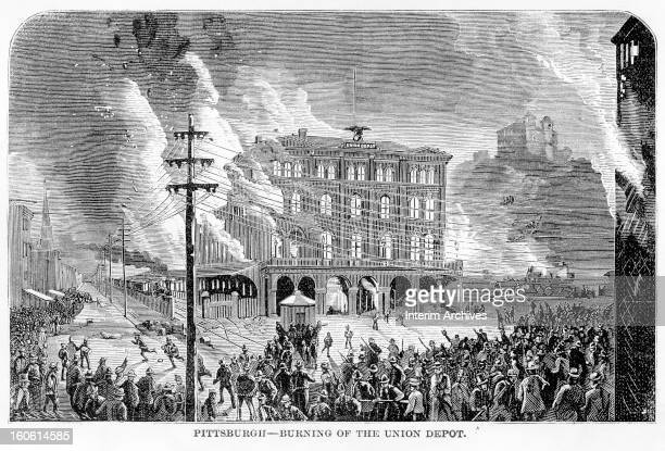 Illustration depicting the destruction of the Union depot in Pittsburgh during the first nationwide wildcat strike in American history the Great...