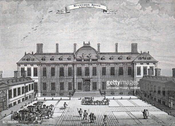 Illustration depicting the exterior of Montagu House Bloomsbury the first home of the British Museum Dated 19th century