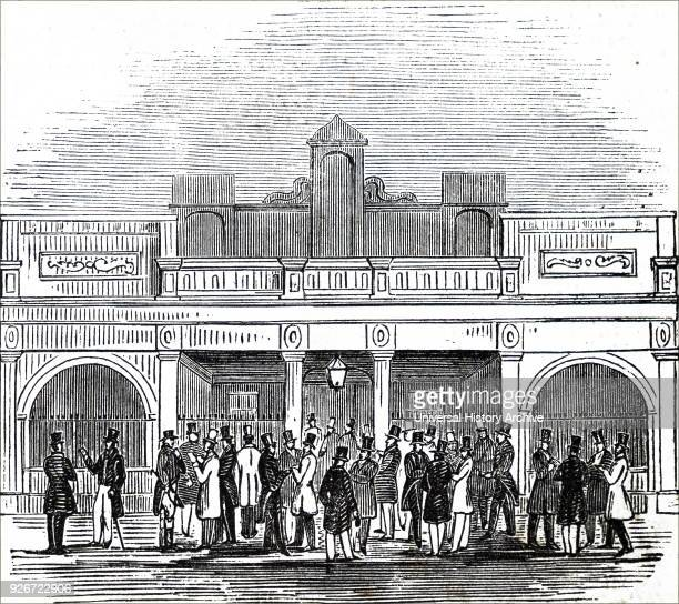 Illustration depicting the exterior of the betting room at the Newmarket Races Dated 19th century