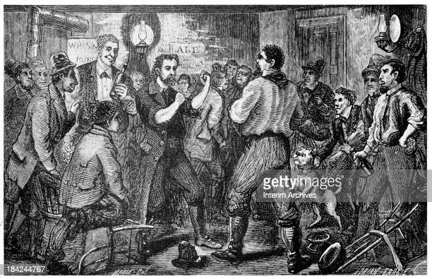 Illustration depicting the fight between 'McKenna' left and a cheater at cards at the Sheridan House Pennsylvania 1873 McParlan had infiltrated the...