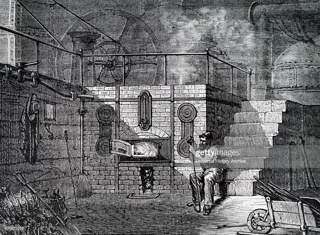 Illustration depicting the firebox and boilers of a steam engine. Dated 19th century.