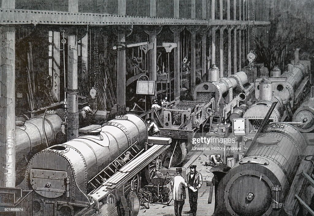 The fitting shop of Stephenson's Locomotive Works. : News Photo