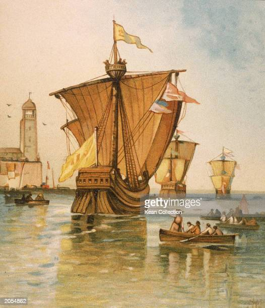 Illustration depicting the fleet of Italian explorer Christopher Columbus departing from Spain on August 3 1492