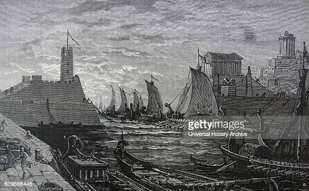 Illustration depicting the fleet of the Spartan Admiral Teleutias brother of the Spartan king Agesilaus II and a Spartan naval commander in the...