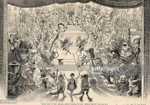 Illustration depicting the 'Grand Tableau of the 'Mistik Krewe'' at Mardi Gras in New Orleans Engraving from Harper's Weekly March 29 1873