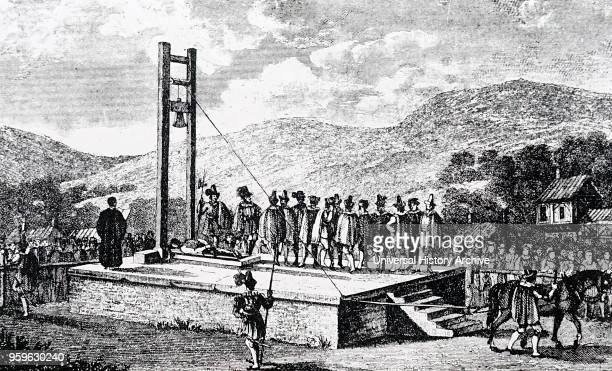 Illustration depicting the Halifax Gibbet an early form of a guillotine used for executions in the Yorkshire town of Halifax Dated 17th Century