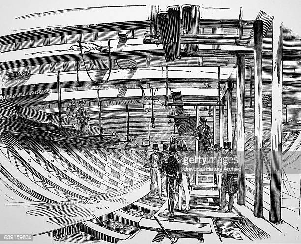 Illustration depicting the hold of the Royal Albert during construction Dated 19th Century