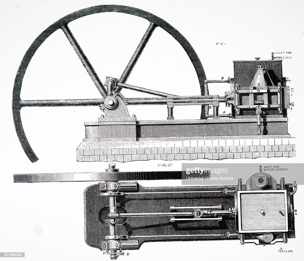 Illustration depicting the improved 'Lenoir' gas engine by Kinder and Kinsey, London. Overheating was prevented by using a water jacket round the cylinder. Dated 19th century.