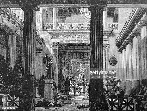 Illustration depicting the interior court of a Greek house with a statue of the Goddess Hestia