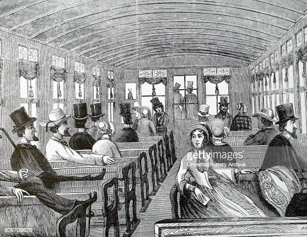 Illustration depicting the interior of a New York tram car Dated 19th century