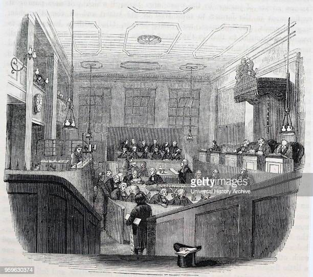 Illustration depicting the interior of the Old Bailey in London Dated 19th Century