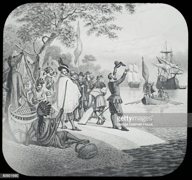 Illustration depicting the landing of the settlers at Jamestown Virginia in 1607 ca1880s United States