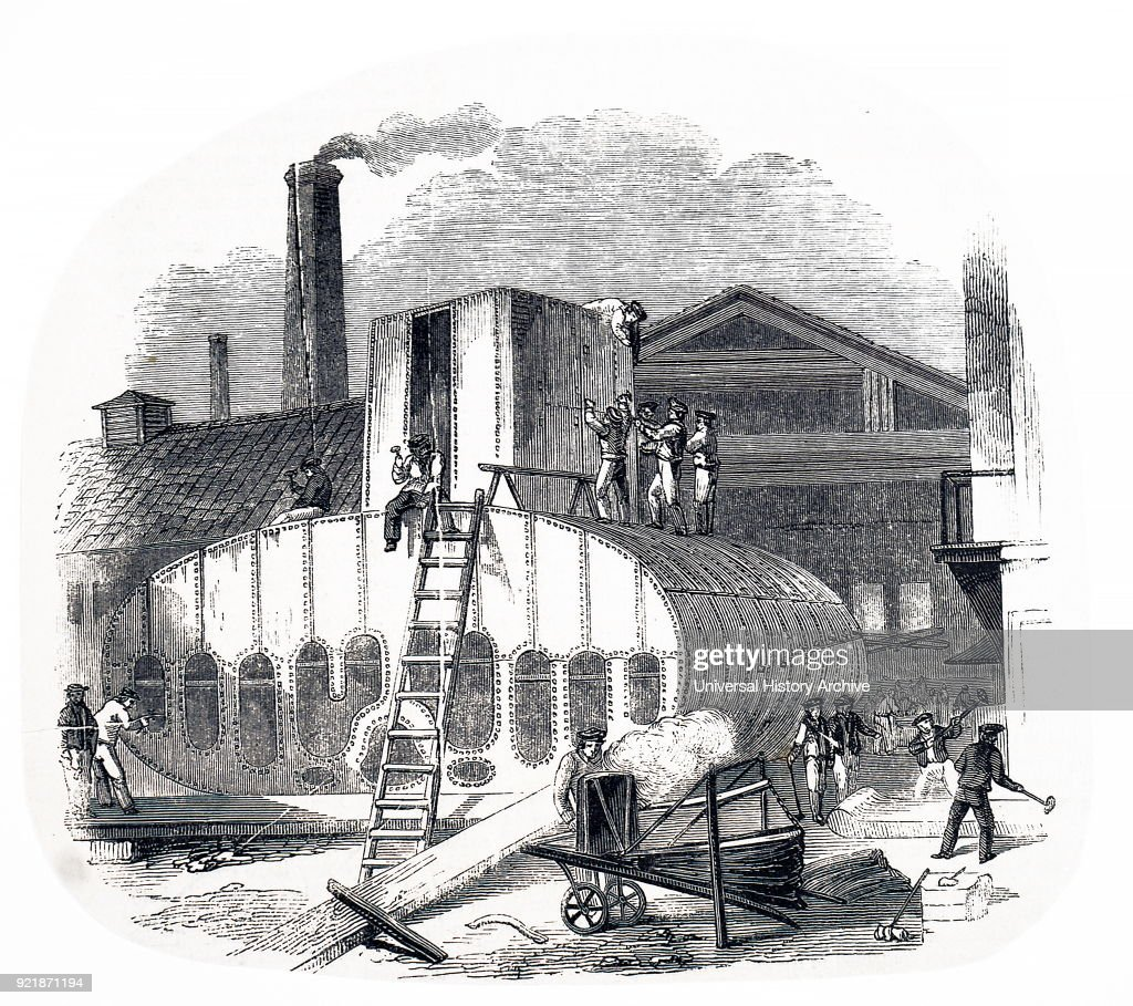 Illustration depicting the making of a steam engine: Vulcan Foundry, Washington Street, Glasgow. Dated 19th century.