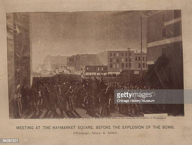 Illustration depicting the meeting at the Haymarket Square before the explosion of the bomb Chicago May 1886