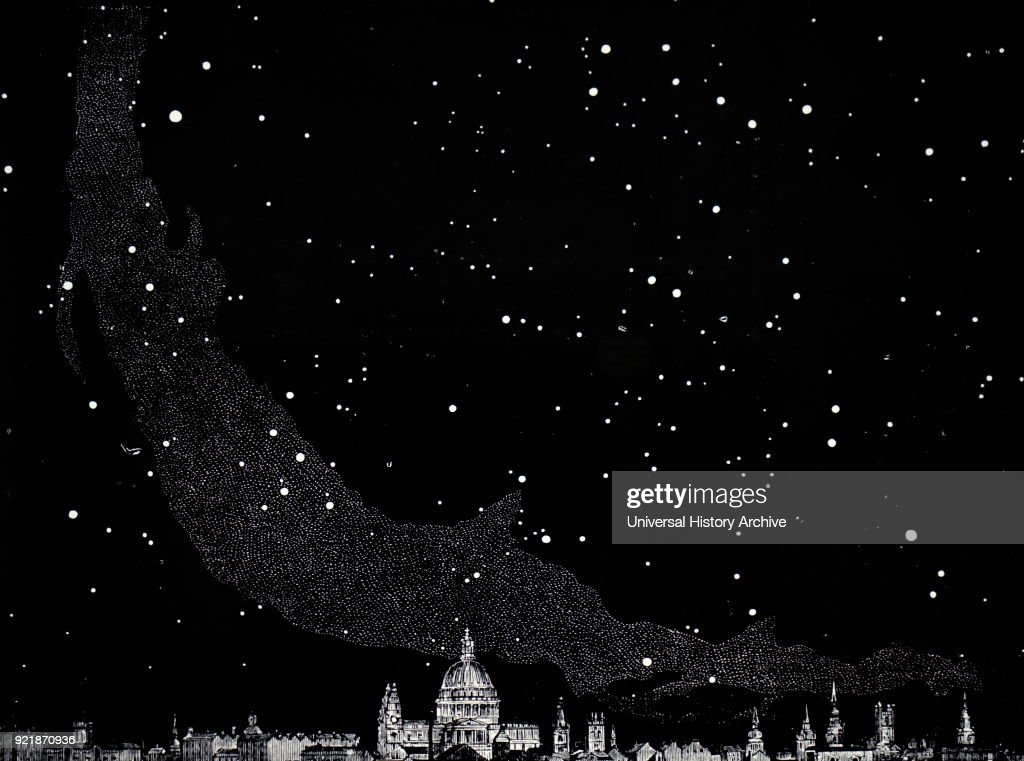 Illustration depicting the midnight sky in the Northern Hemisphere showing the Milky Way. Looking South from London. Dated 19th century.