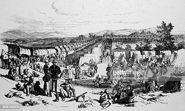 Illustration depicting the Mormon exodus from Illinois to Salt Lake City, Utah. Dated 19th Century.