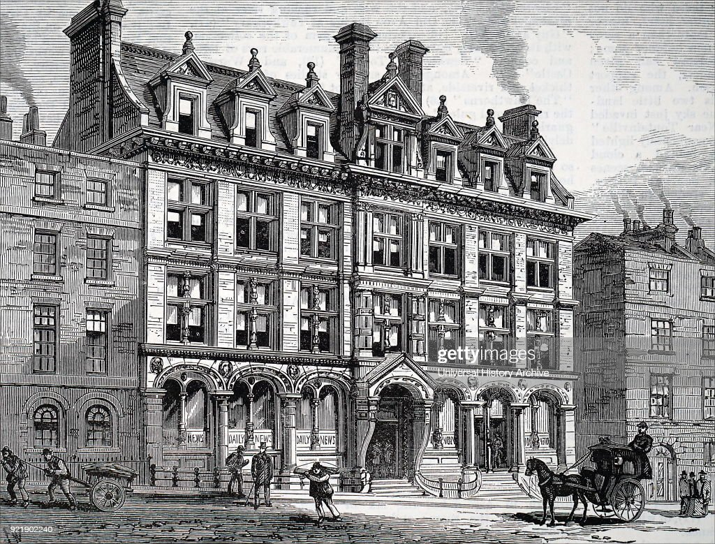 Illustration depicting the new building of the 'Daily News' in Bouverie Street, London. Dated 19th century.