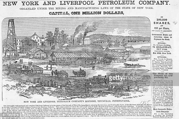 Illustration depicting the New York and Liverpool Petroleum Company's refinery in Titusville, Pennsylvania, 1865.