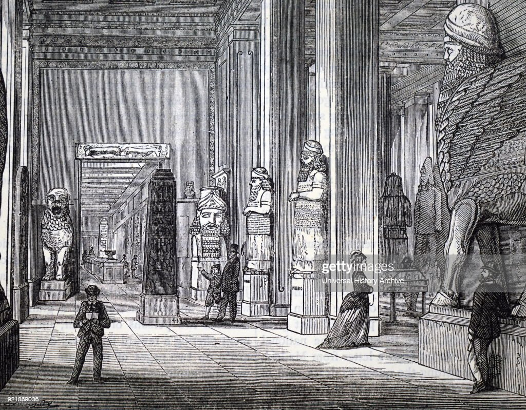 Illustration depicting the Nineveh Gallery, at Montagu House, Bloomsbury, the first home of the British Museum. Dated 19th century.