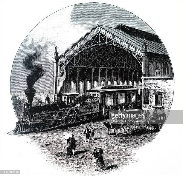 Illustration depicting the Omaha railway station on the Grand Pacific line Dated 19th century