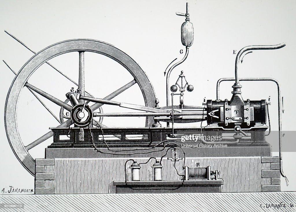 Illustration depicting the original 'Lenoir' gas engine. Dated 19th century.