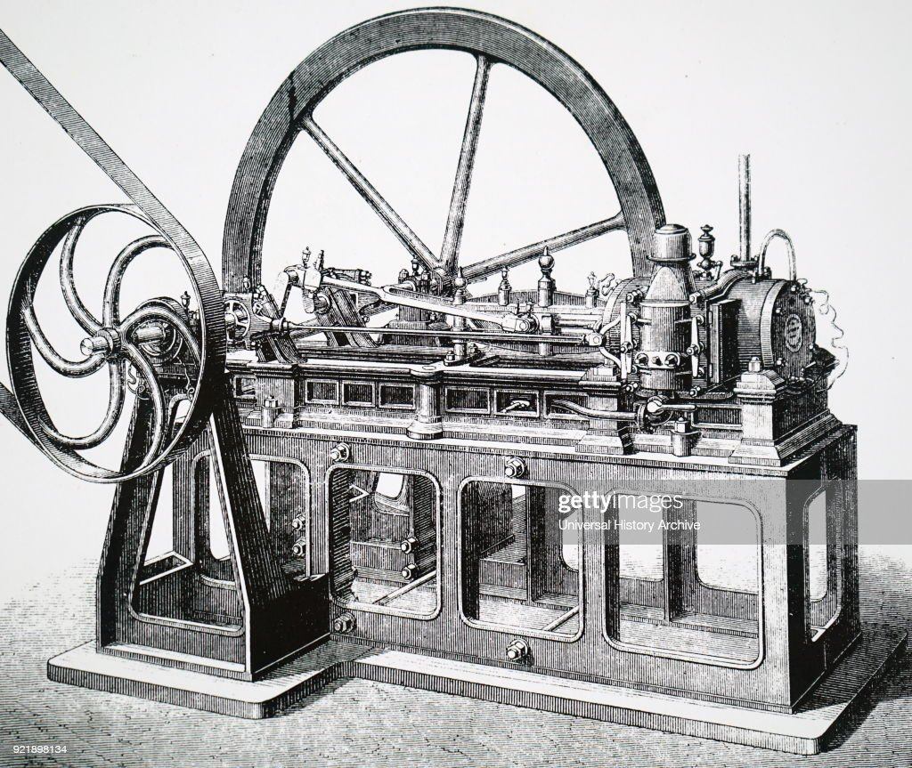 Illustration depicting the original 'Lenoir' gas engine. Dated 19th century.