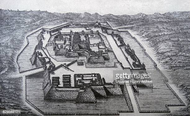 Illustration depicting the Osaka Castle captured by the conquering Tokugawa Ieyasu Dated 16th Century