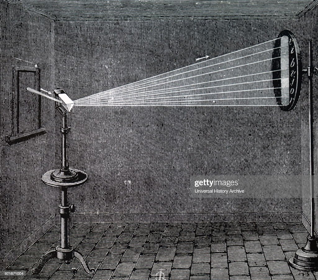 The passing of a ray of sunlight through a prism. : News Photo