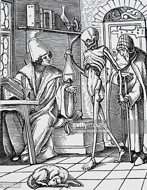 Illustration depicting the physician being visited by 'death' who is seen holding a sample of urine a patient had brought with them Dated 16th Century
