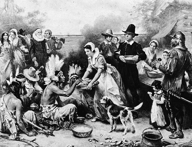 Illustration depicting the Pilgrims serving food to...