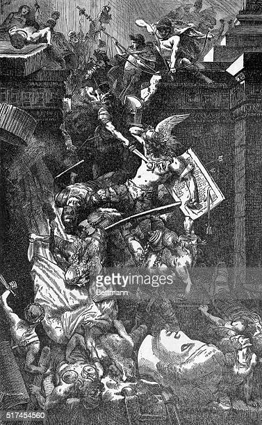 Illustration depicting the pillage of Rome by the Vandals Undated drawing by H Vogel