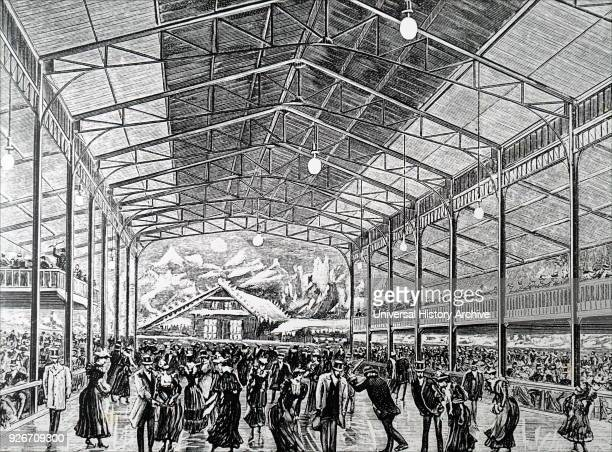 Illustration depicting the Pole Nord ice rink in la Plaza de Toros rue Pergolese Paris The rink measured 40 X 18 meters and had 5000 meters of piping...
