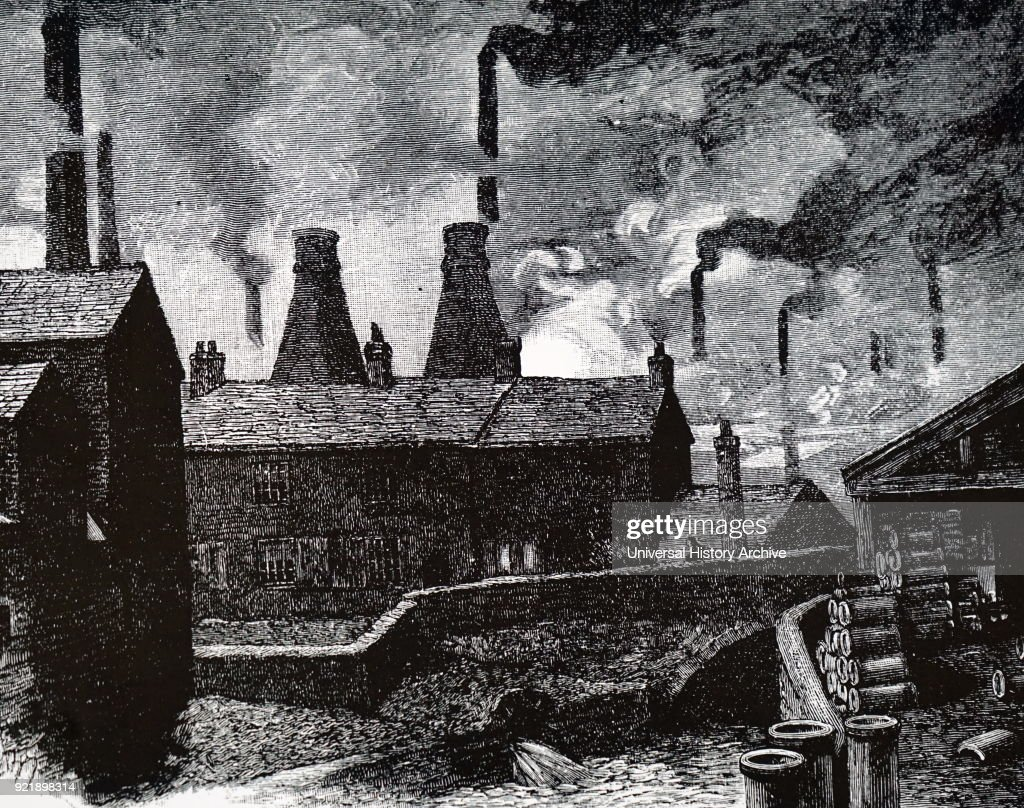 Illustration depicting the pollution within Sheffield, showing the smoking chimneys typical of a 19th century industrial city. Dated 19th century.