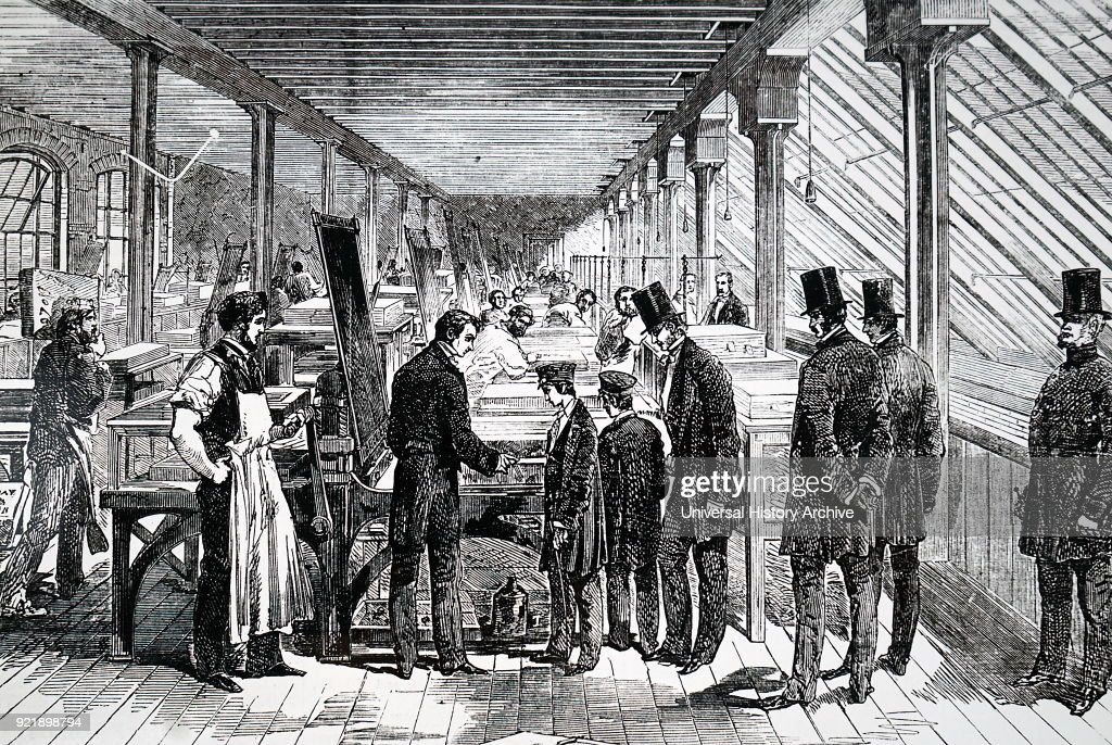 Illustration depicting the Prince of Wales and Prince Alfred visiting Day & Son's work. At this time Days were one of the leading chromolithographers in London. Dated 19th century.