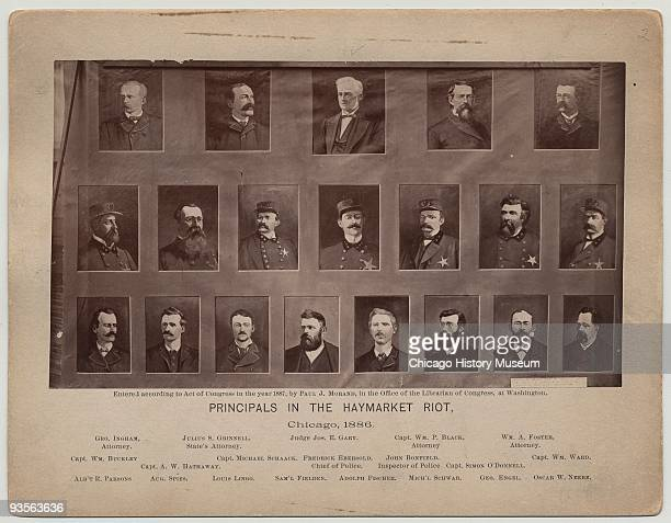 Illustration depicting the principal figures associated with the Haymarket Riot Chicago 1880 The top two rows show attorneys judges and policemen...