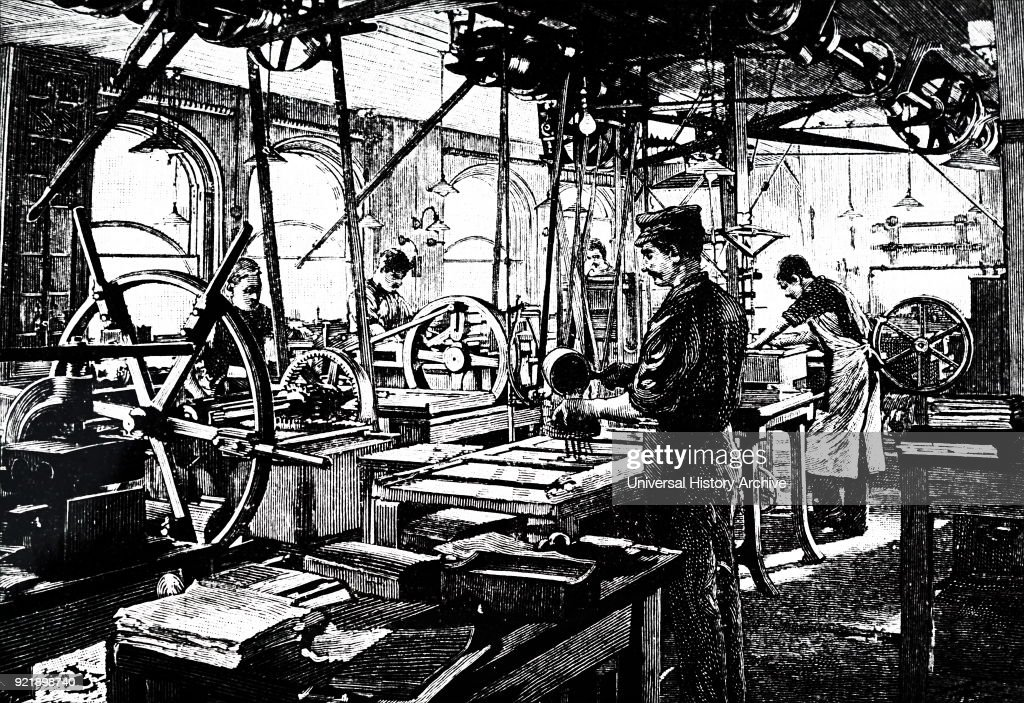 Illustration depicting the printing room of the Strand Magazine. Dated 19th century.