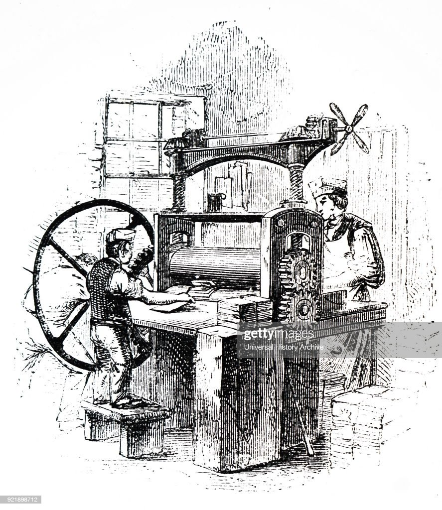 Illustration depicting the process of bookbinding: bookbinder's rolling machine. Dated 19th century.