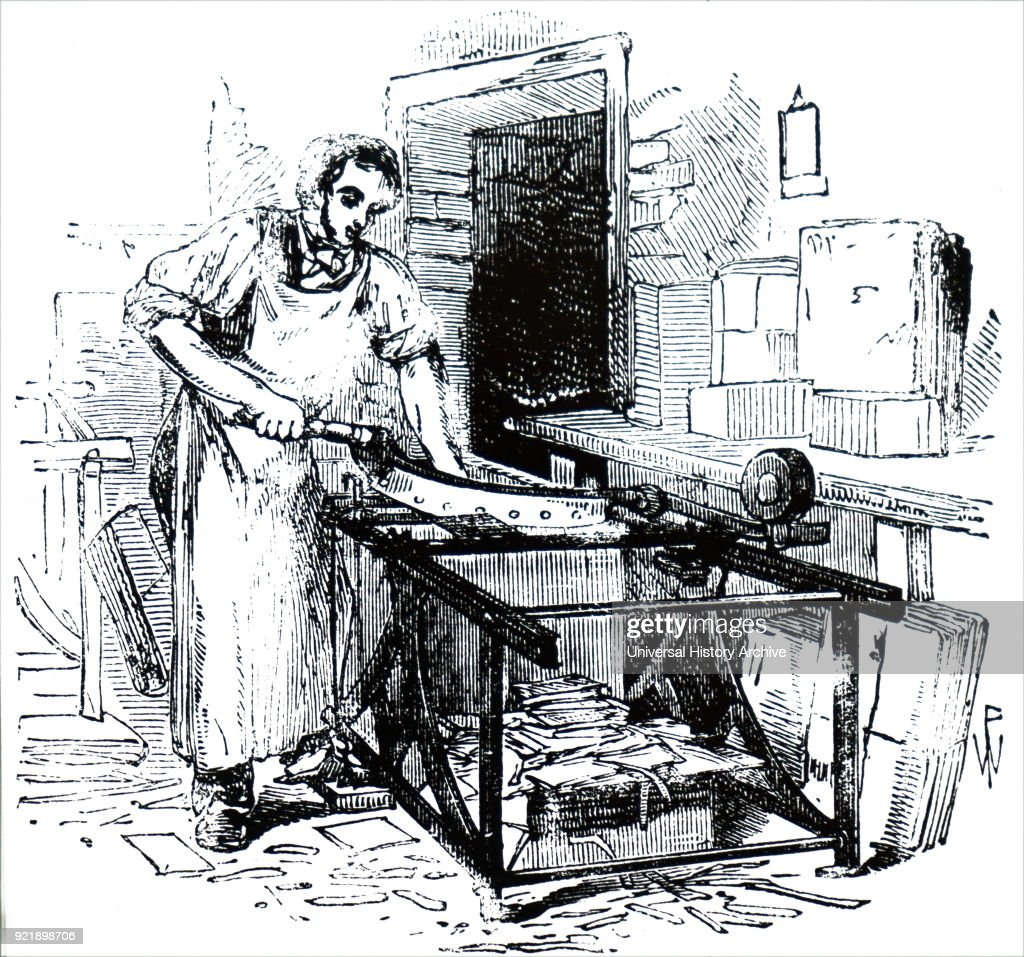 Illustration depicting the process of bookbinding: guillotine for cutting millboard to size. Dated 19th century.