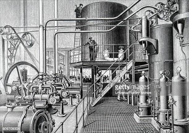 Illustration depicting the refrigeration machinery of the Pole Nord ice rink in la Plaza de Toros rue Pergolese Paris The rink measured 40 X 18...