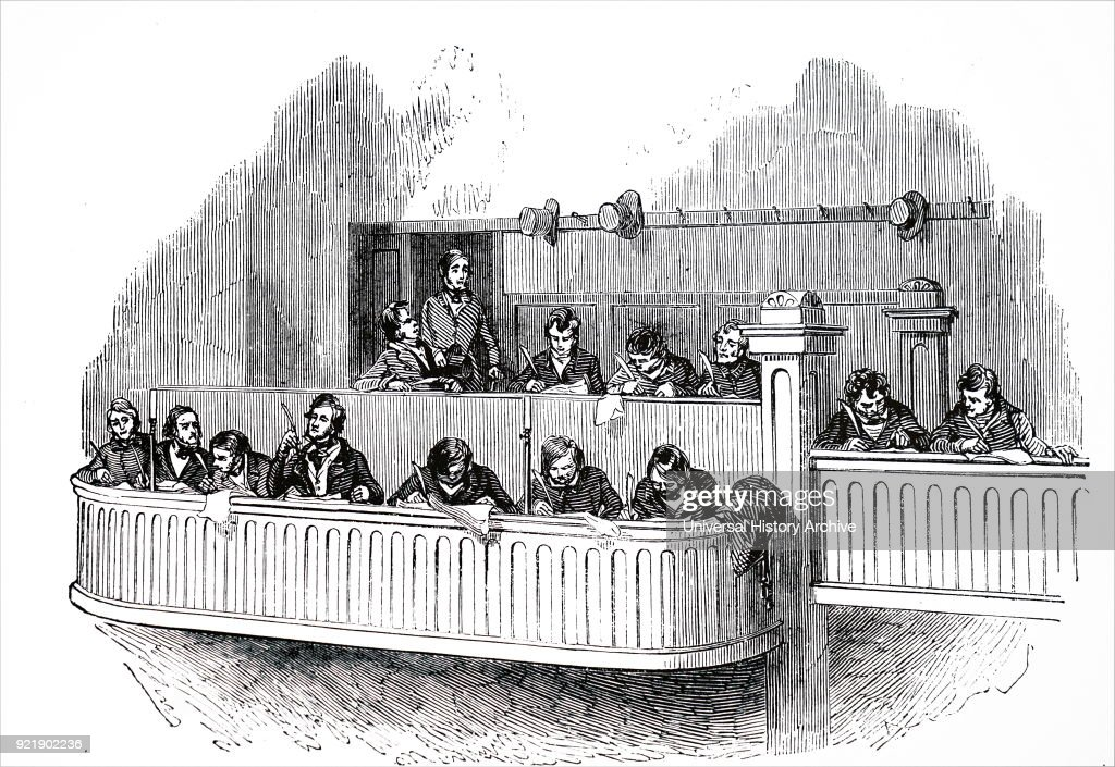 Illustration depicting The Reporters' box at the state trials in Dublin. Dated 19th century.