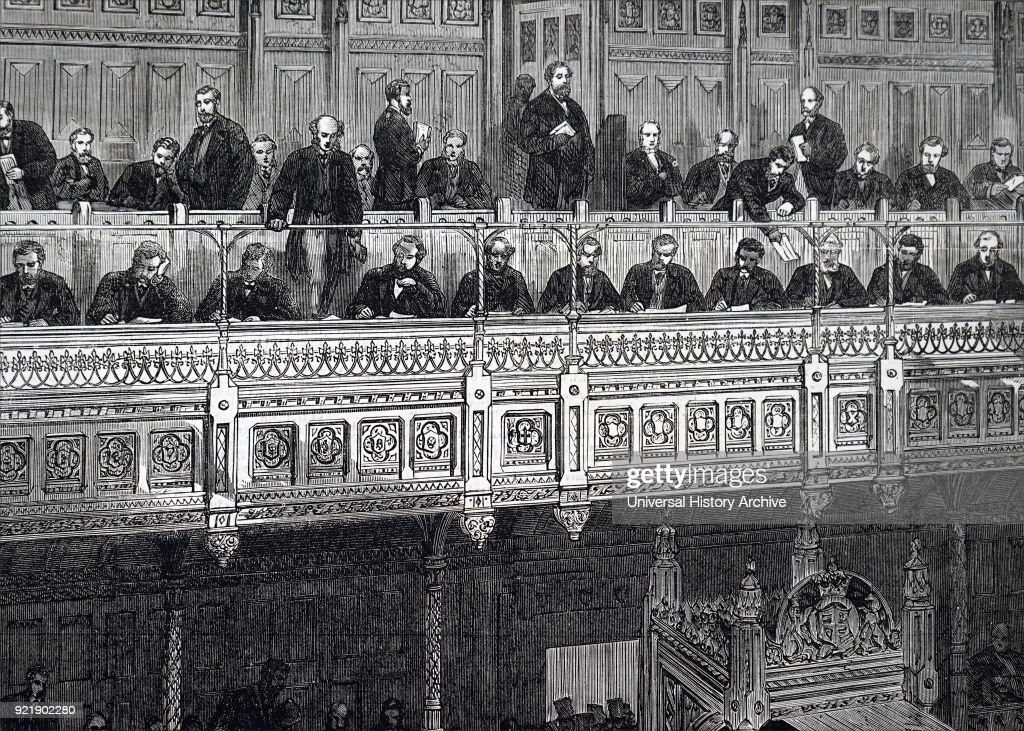 Illustration depicting the Reporters' gallery within the House of Commons. Dated 19th century.
