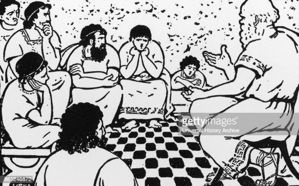 Illustration depicting the School of Socrates. Socrates was a classical Greek philosopher and educator. Dated 18th Century.