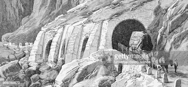Illustration depicting the Simplon Pass a mountain pass between the Pennine Alps and the Lepontine Alps in Switzerland Dated 19th Century